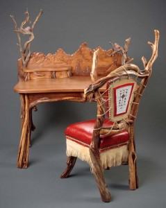 Hand carved desk, Tetons