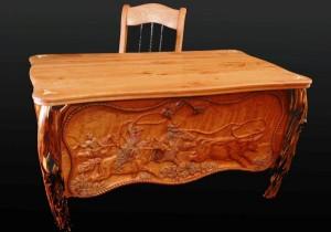 Hand carved western desk