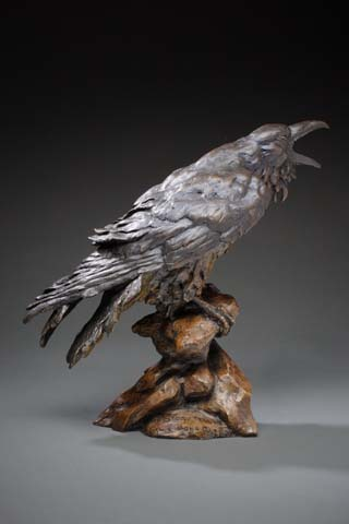 The Storyteller, raven sculpture