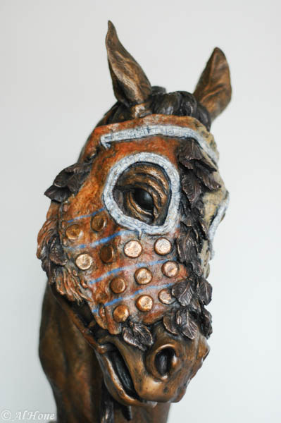 sculpture,al hone,horse mask,native american.weathering the storm