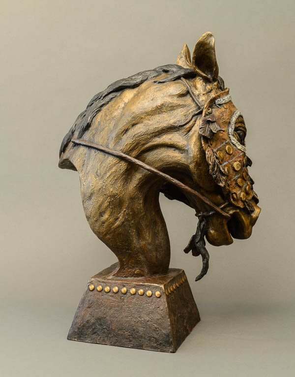 Bronze sculpture, Al Hone, horse mask