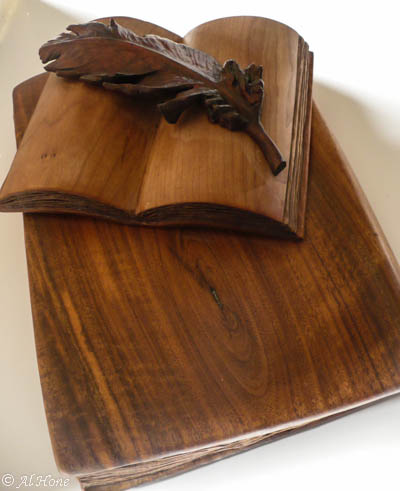 wood carving class-feather and books