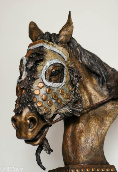 weathering the storm,native american,horse mask,sculpture,al hone
