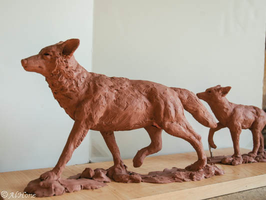 Coyote sculpture