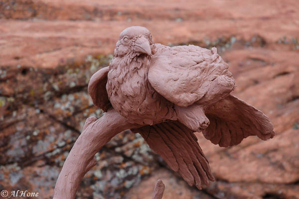 sculpture,raven,morning rays