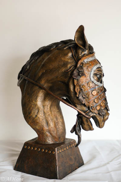 sculpture,al hone,horse mask,native american,weathering the storm