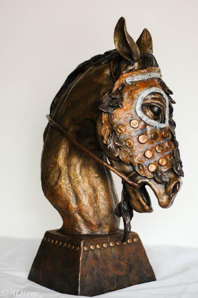 sculpture,al hone,horse mask,native american,weathering the storm